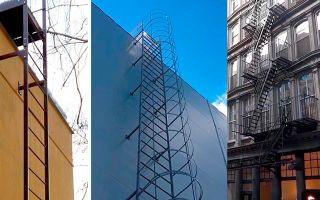 Типы (виды) пожарных лестниц: вертикальные п1, маршевые п2