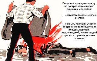 Тушение горящей одежды на человеке: действия и первая помощь